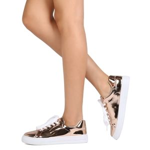 QUPID ROSE GOLD METALLIC LACE UP SNEAKERS